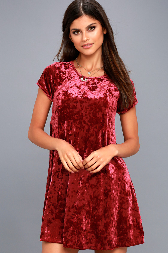 9454224f7fc Z Supply Wine Red Crushed Velvet Dress - Swing Dress