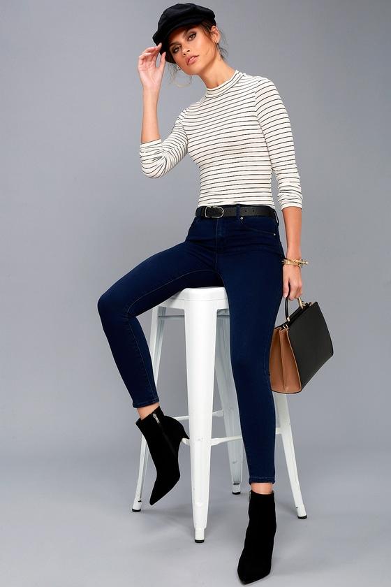Go On Dark Wash High-Waisted Skinny Jeans 7