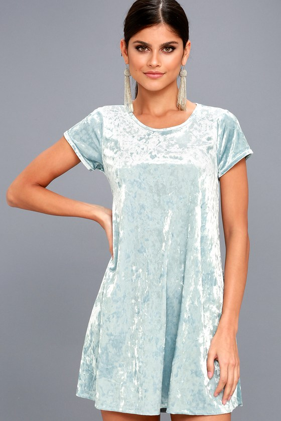 Z Supply Light Blue Crushed Velvet Dress - Swing Dress 1d9b34e60
