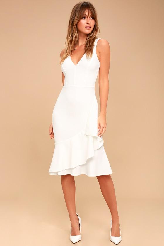 699cf49168289 Chic White Dress - White Midi Dress - Ruffled Dress