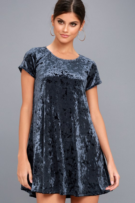 9968190b9ee9 Z Supply Navy Blue Crushed Velvet Dress - Swing Dress