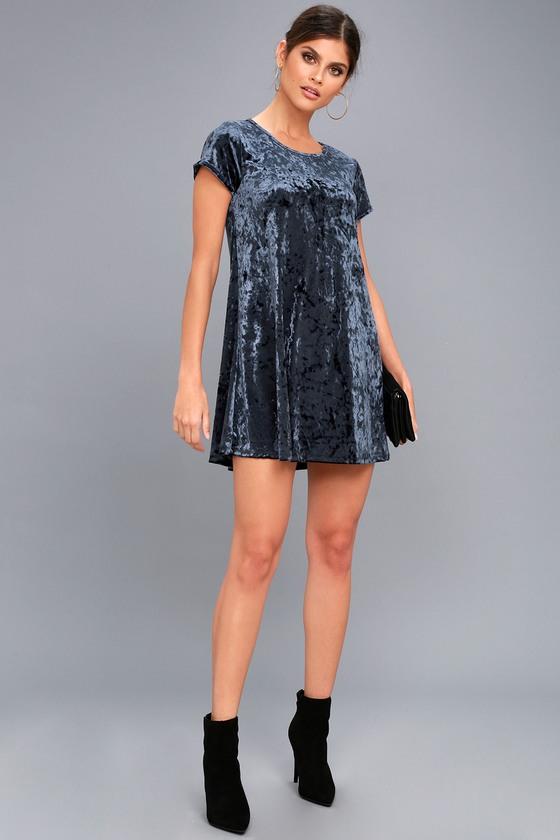 Z Supply Navy Blue Crushed Velvet Dress - Swing Dress 97cf51283