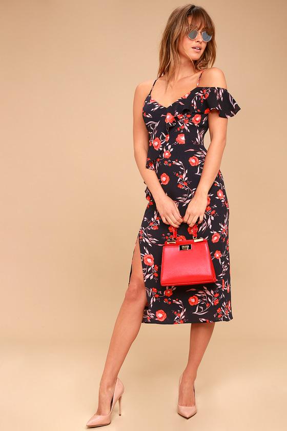e7a7efce4aa Bouquet of Love Black Floral Print Off-the-Shoulder Midi Dress