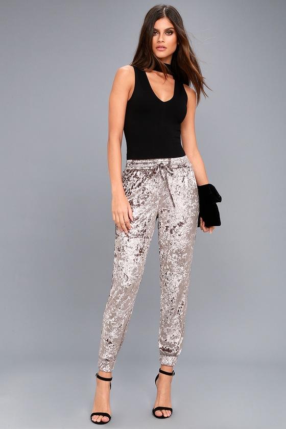 Cute Taupe Pants Jogger Pants Velvet Pants