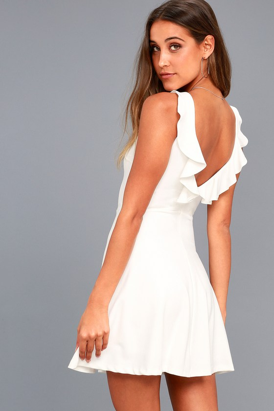 Craving You White Backless Skater Dress 6