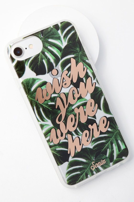 Wish You Were Here Green Leaf Print iPhone 6s, 7, and 8 Case