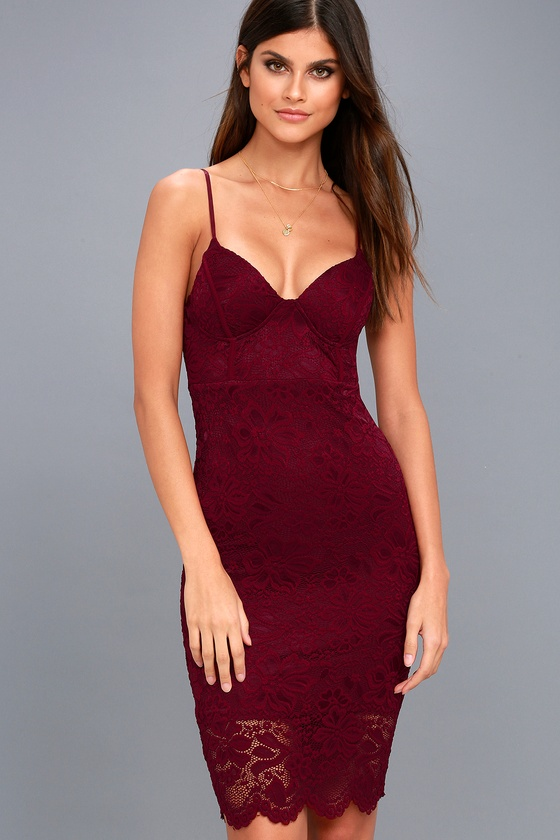 Versailles Burgundy Lace Bodycon Midi Dress 6