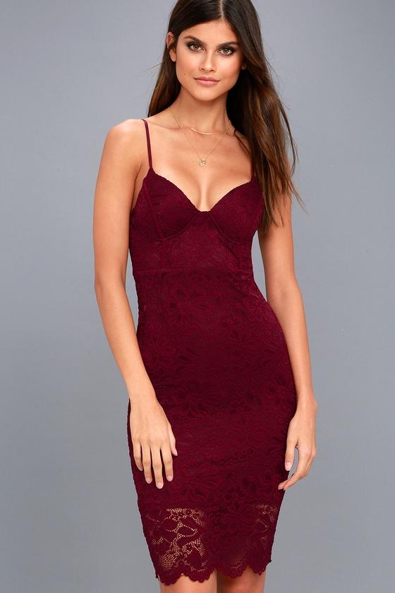 Versailles Burgundy Lace Bodycon Midi Dress