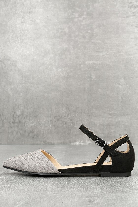 Helena Grey and Black Snake Suede Flats 1