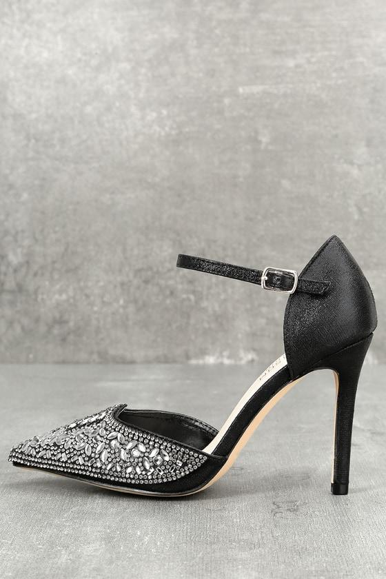Adeline Black Rhinestone Ankle Strap Heels 1