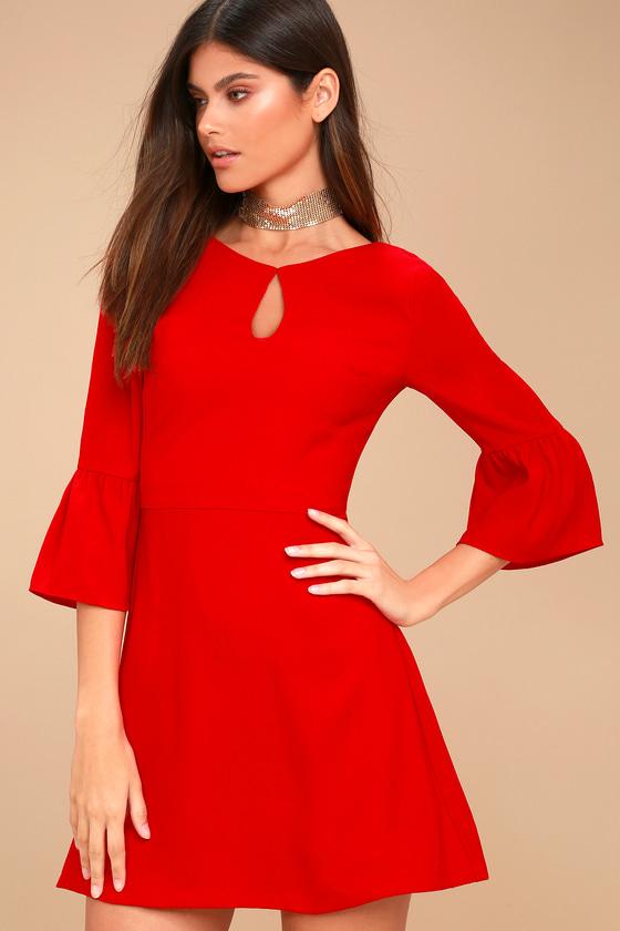 J.O.A. - Cornelia Red Flounce Sleeve Dress - Size Large - 100% Polyester - Lulus