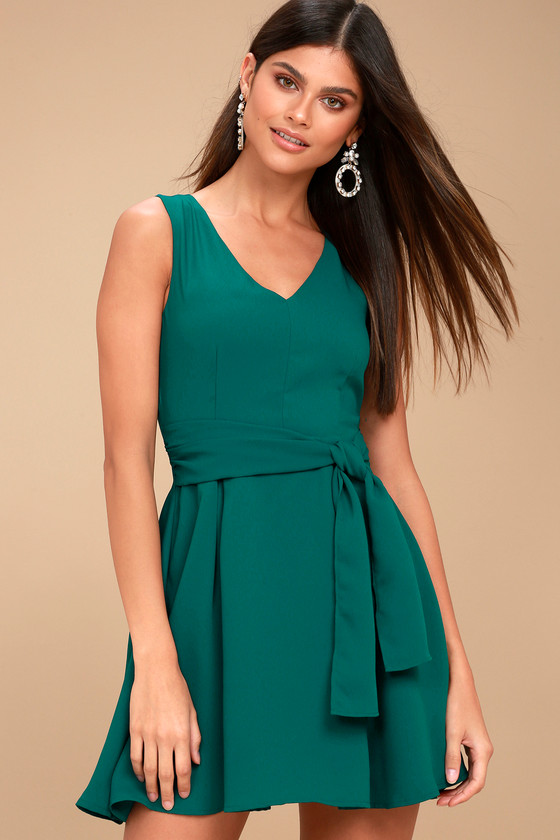 Lucai Teal Green Knotted Skater Dress 1
