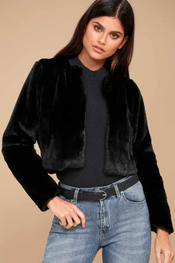 Chic Faux Fur Jacket - Black Jacket - Cropped Jacket
