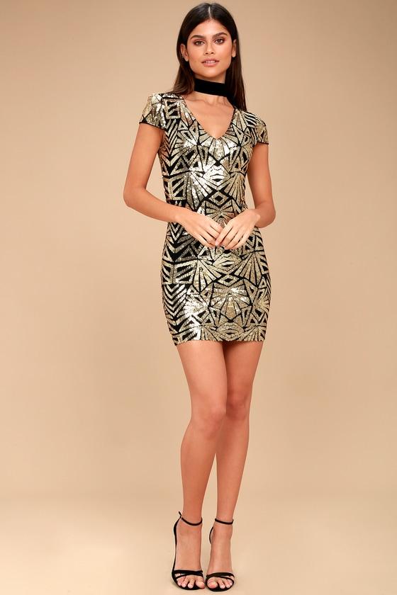 66146c1ec9 Sexy Sequin Dress - Black and Gold Dress - Long Sleeve Dress