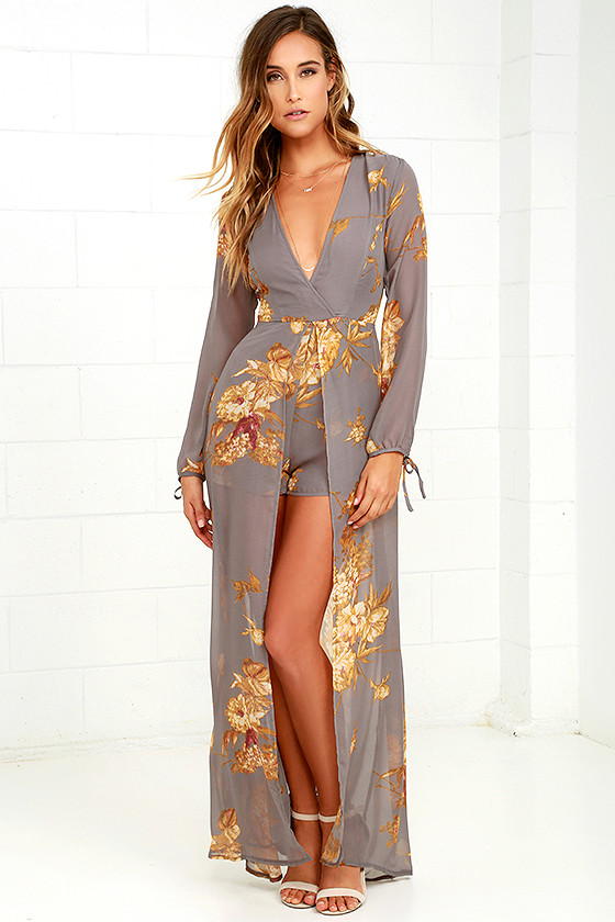 76dd02ea3de Beautiful Grey Floral Print Romper - Maxi Romper - Long Sleeve ...