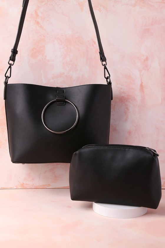 Lulus - Gimme a Ring Black Ring Handle Tote - Vegan Friendly