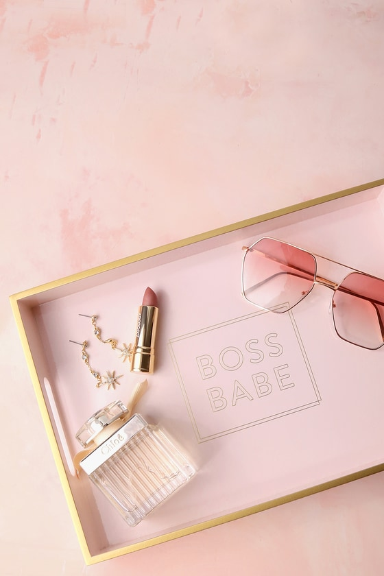 Boss Babe Gold and Blush Pink Lacquered Tray 5