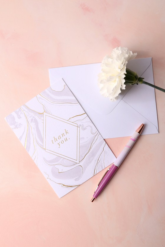Gold and White Marble Thank You Cards 5