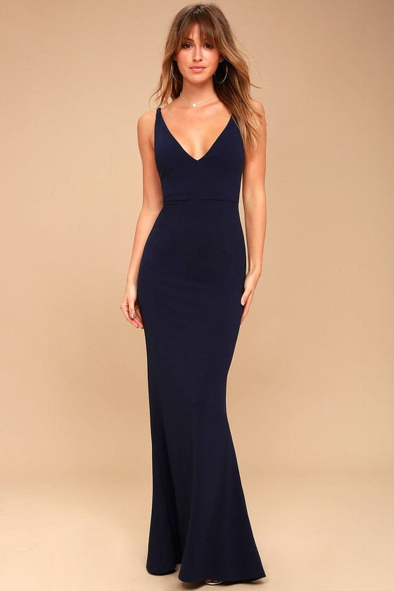 Melora Navy Blue Sleeveless Maxi Dress 1