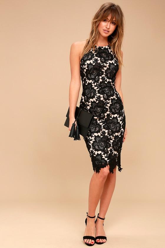69bdff8dd233 Sexy Black Lace Dress - Bodycon Dress - Halter Neck Dress