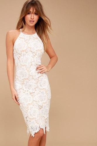 7152c62f88d Temps De L Amour White Lace Bodycon Midi Dress