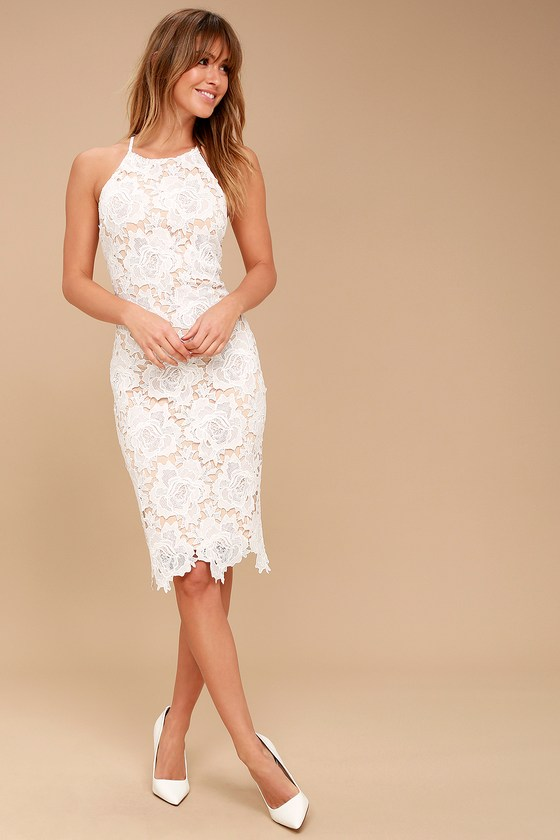 d637dd7fd95 Sexy White Lace Dress - Bodycon Dress - Sleeveless Dress