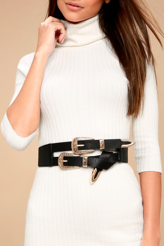 Cool Black And Gold Double Buckle Belt Double Belt