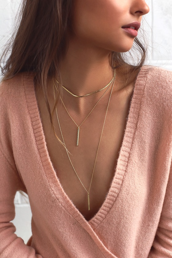 Sleek Peek Gold Layered Choker Necklace 4