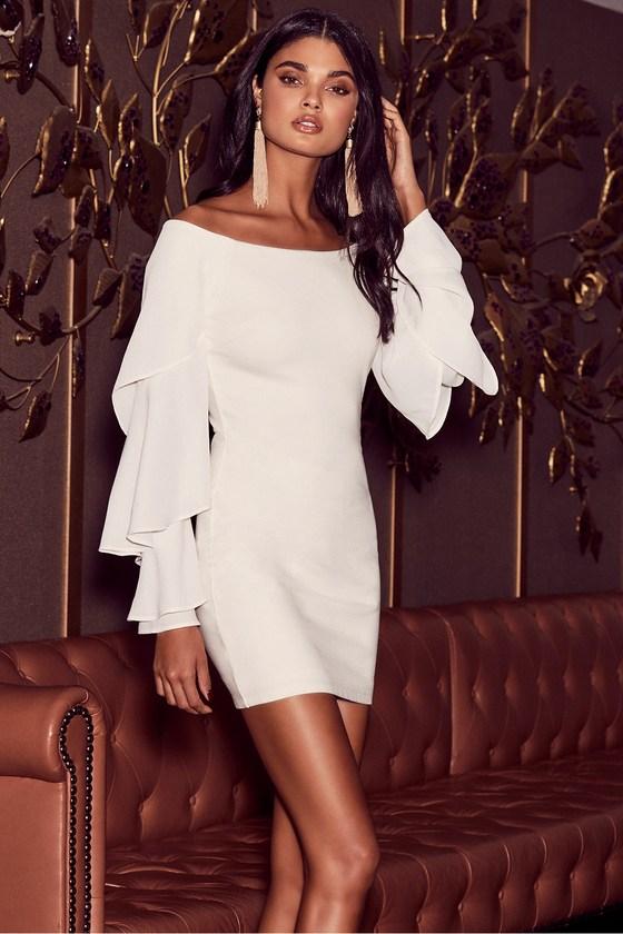 e4f0b8cc8e6 Sexy White Off-the-Shoulder Dress - Bodycon Dress - LWD