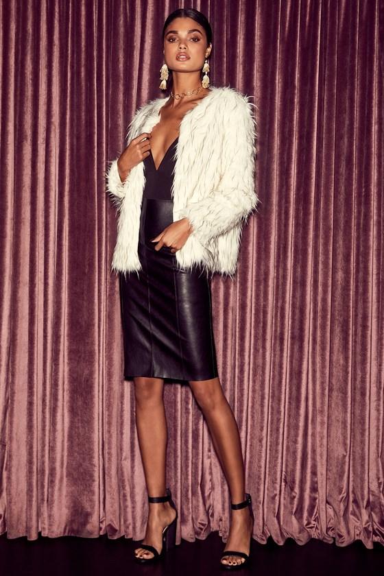 f2dbf28197 Sexy Black Vegan Leather Skirt - Midi Skirt - Pencil Skirt