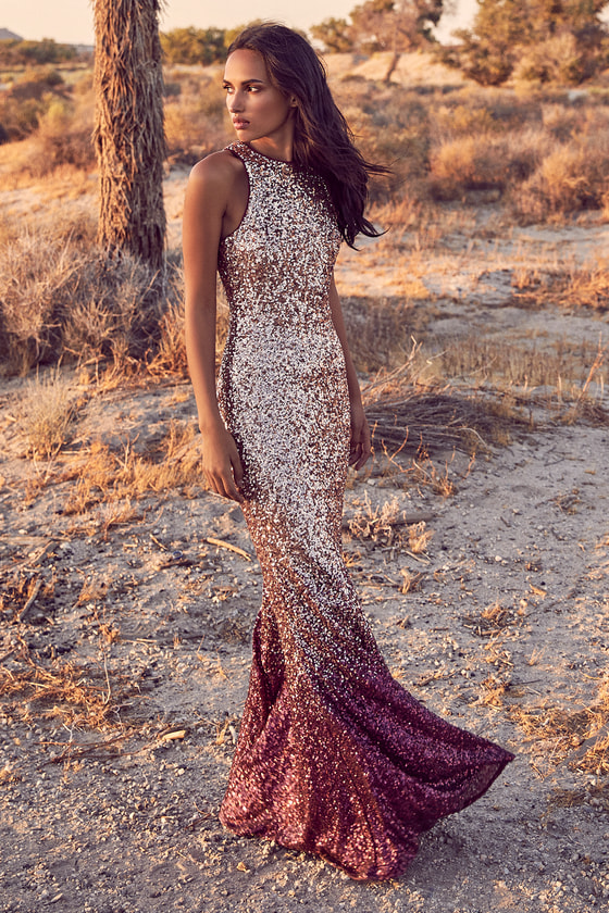 92bb4675 Infinite Dreams Burgundy and Rose Gold Ombre Sequin Maxi Dress
