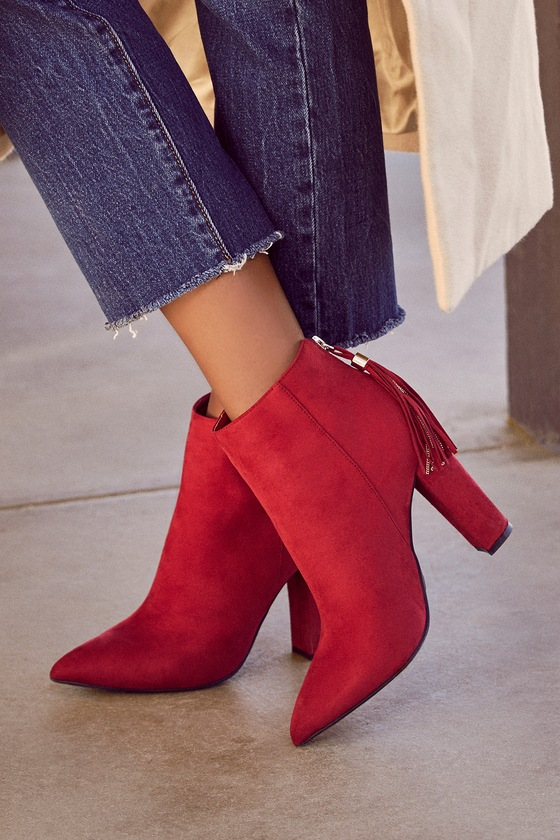f0a141e4fcd0 Chic Red Booties - Vegan Suede Booties - Pointed Toe Boots