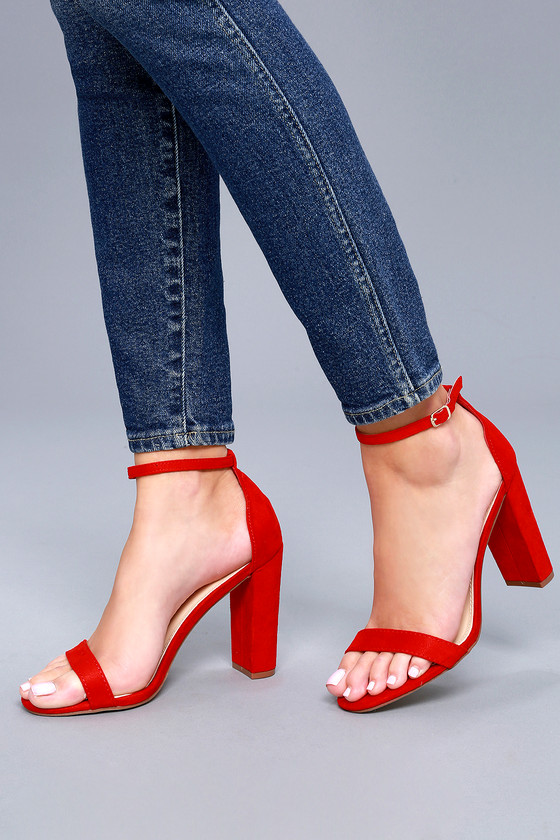 413507974375 Sexy Red Suede Heels - Ankle Strap Heels - Single Sole Heels