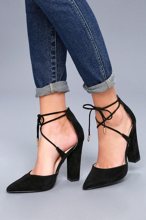Luna Black Suede Lace-up Heels 1