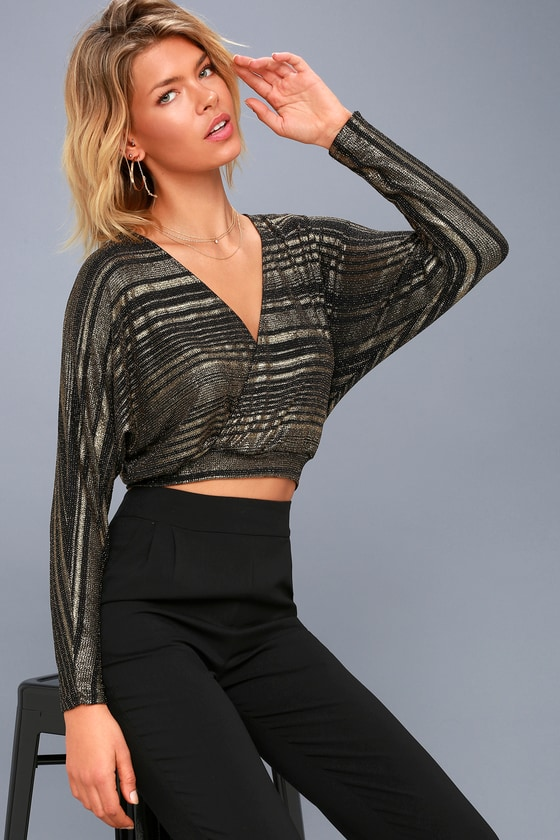Shimmer Town Black and Gold Striped Long Sleeve Crop Top 2