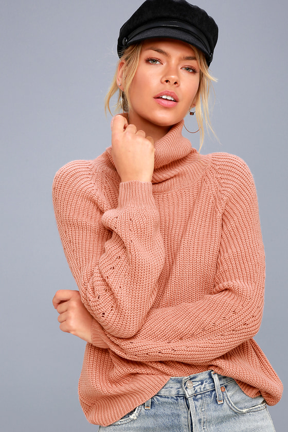 Cute Rusty Rose Sweater - Cowl Neck Sweater - Knit Sweater