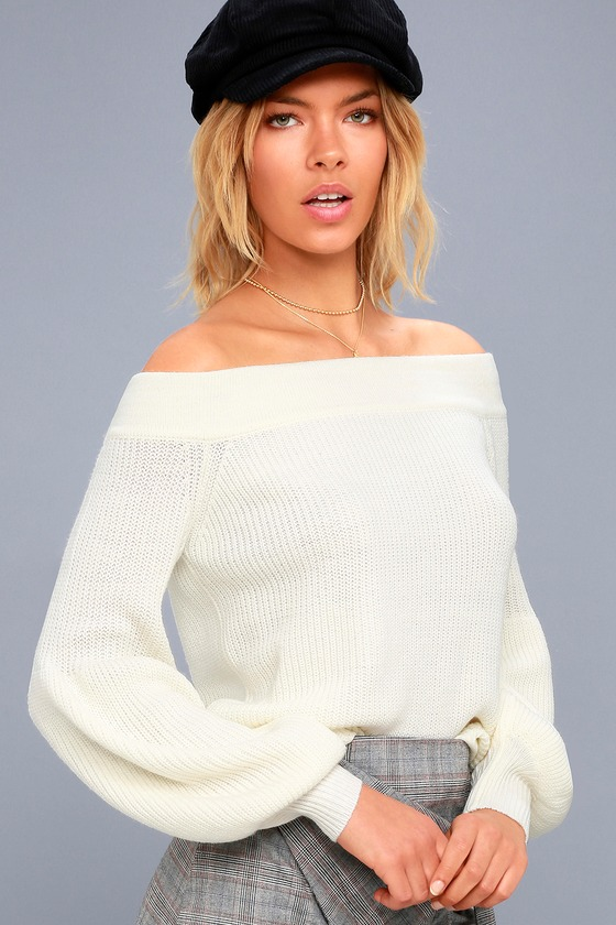 Good Going Cream Knit Off-the-Shoulder Sweater 2