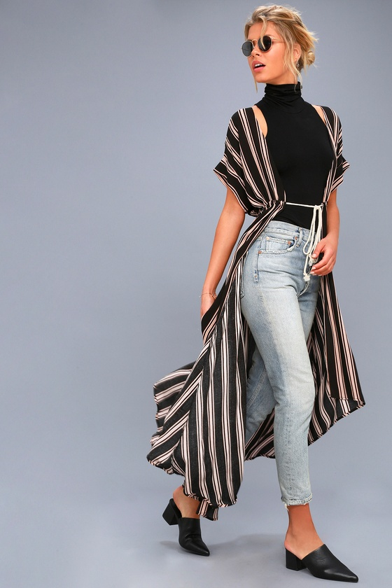 Tatiana Black Striped Kimono Top 2