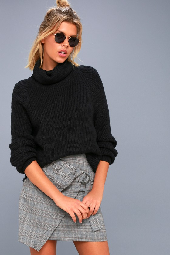 Cute Black Sweater - Cowl Neck Sweater - Knit Sweater