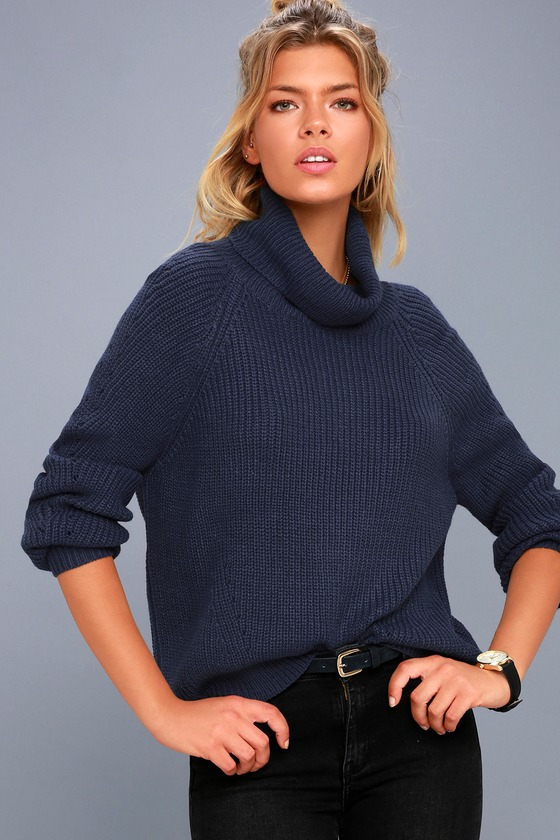 Cute Navy Blue Sweater - Cowl Neck Sweater - Knit Sweater