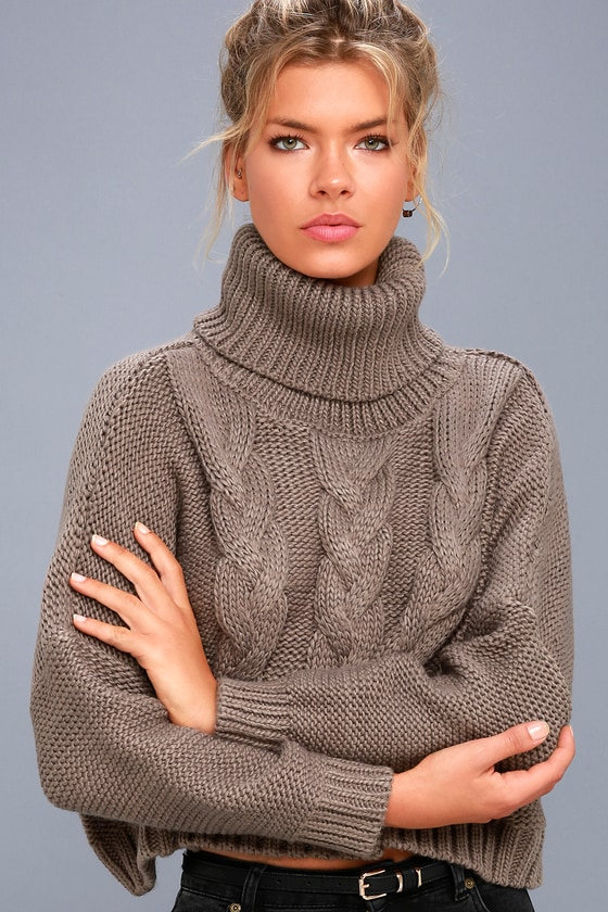 Jack by BB Dakota Hobie - Taupe Cropped Sweater