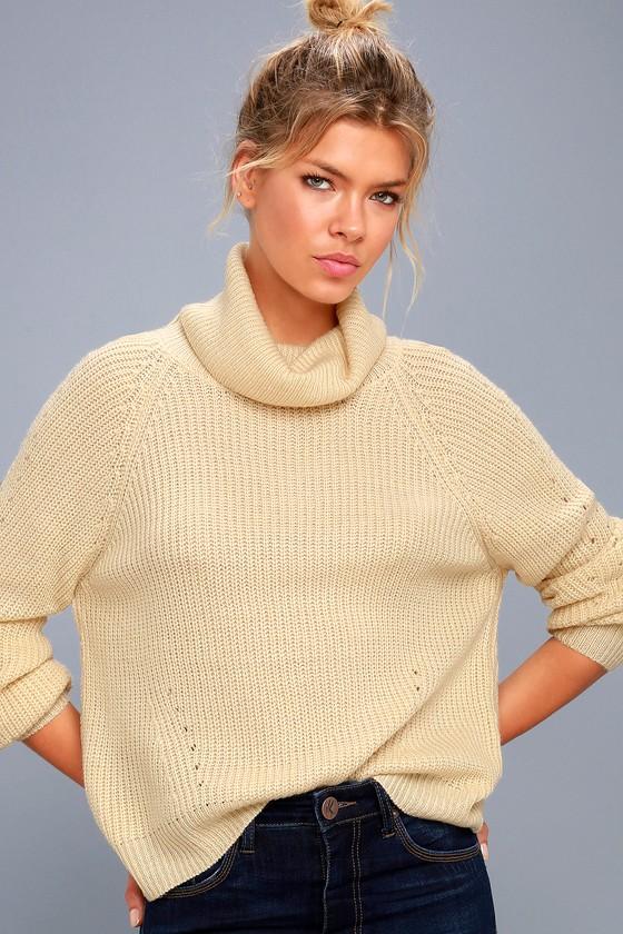 Park City Light Beige Cowl Neck Knit Sweater 1