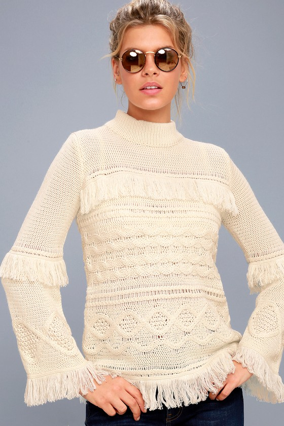 Baker Cream Fringe Cable Knit Sweater 1