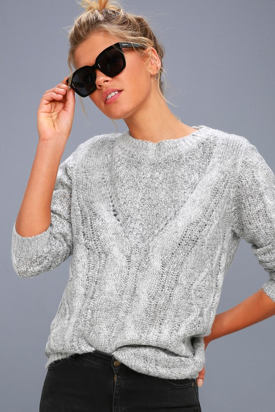 Irreplaceable Love Heather Grey Cable Knit Sweater 1