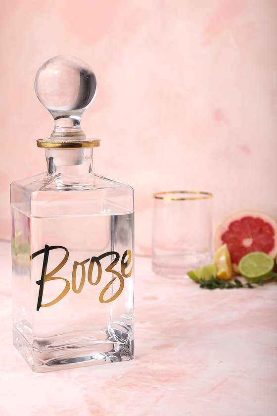 Chez Elle Clear and Gold Booze Decanter 3