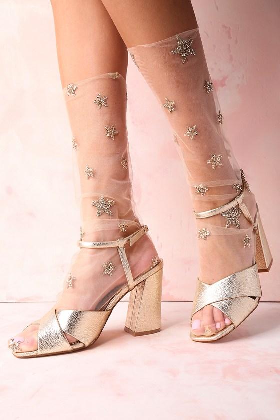 Stars in Her Eyes Gold Glitter Star Print Tulle Socks 1