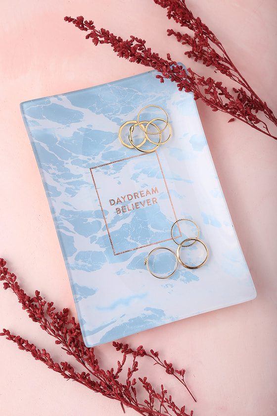 Daydream Believer Rose Gold and Blue Glass Tray 3