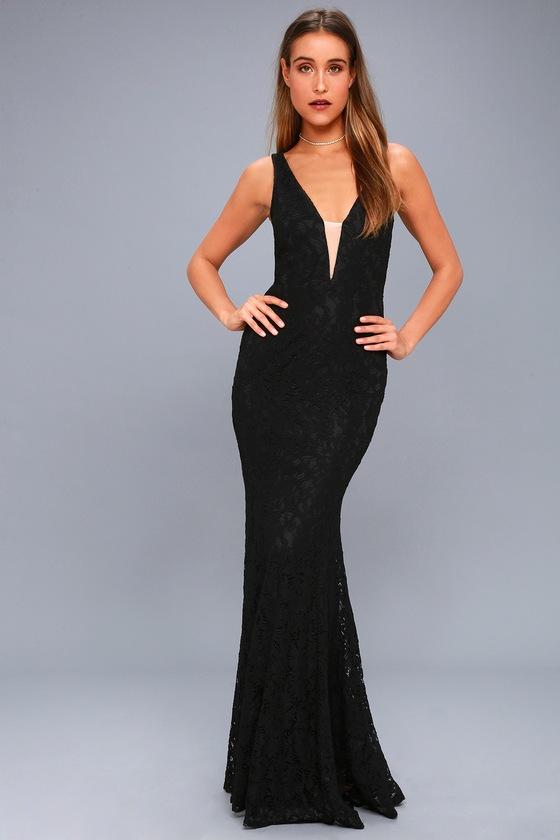 Stunning Black Lace Maxi Dress Mermaid Dress