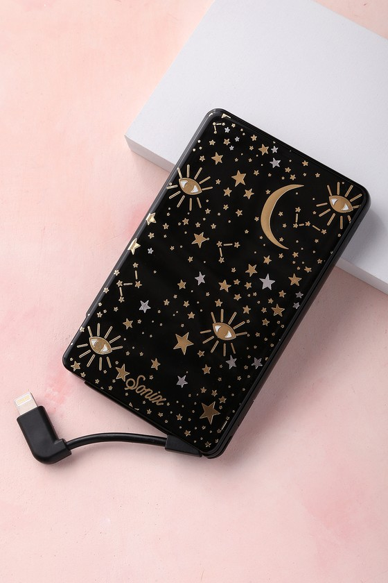 Cosmic Black Star Print Pick Me Up Portable Charger 2