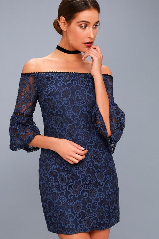 BB Dakota - Danlyn Navy Blue Lace Off-the-Shoulder Dress - Size 4 - 100% Polyester - Lulus